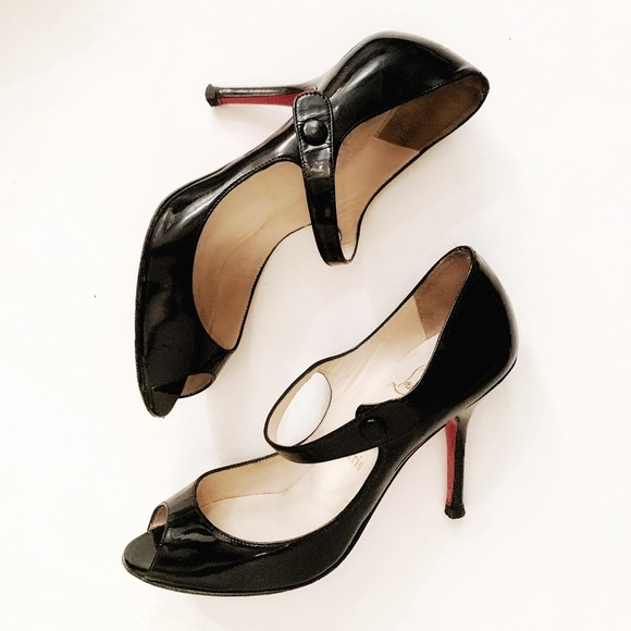 low priced ca174 a697b Christian Louboutin Mary Jane Peep-Toe Heels